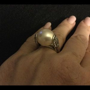 Brighton faux pearl ring, crystals on side, size 7